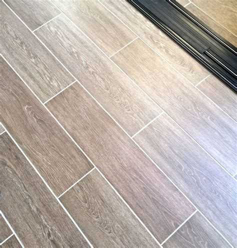 tile wood look with grout flooring