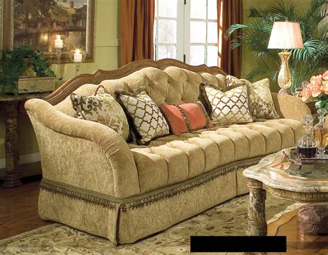 Tufted Velvet Sofa Furniture by Classy Valencia Wood Trim Tufted Sofa With Curved Back As