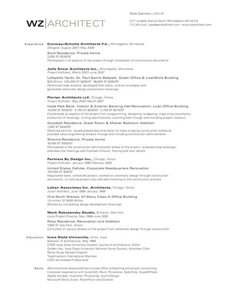 wz architect resume experience