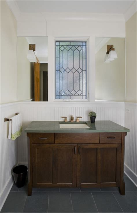 Powder Room Vanity & Leaded Glass Window Craftsman