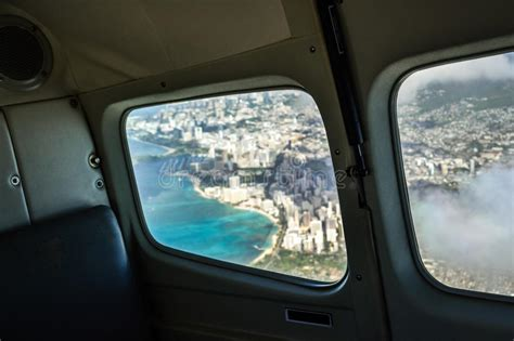 View From An Airplane Window On The City Of Honolulu With