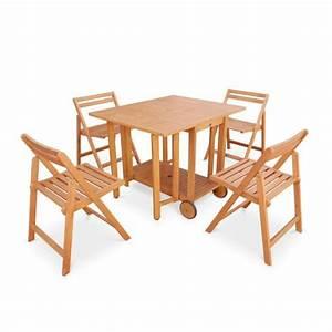 Table Jardin Pliable : salon de jardin en bois pliable merida table rectangle pliable 100x82cm avec 4 chaises pliantes ~ Teatrodelosmanantiales.com Idées de Décoration