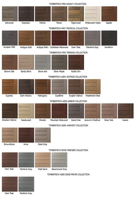 timbertech decking color chart  top nj  home builder