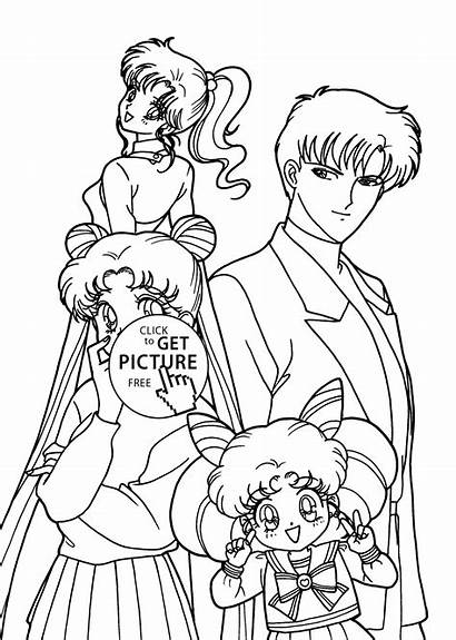 Coloring Anime Pages Sailor Moon Characters Printable