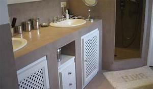 la salle de bains en beton cire With meuble beton cire salle de bain