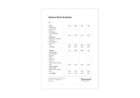 restaurant balance sheet quarterly template  word excel
