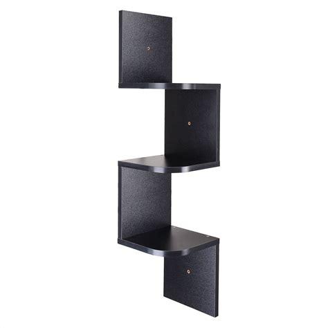 3 tiers wall mount corner zig zag wooden shelf floating
