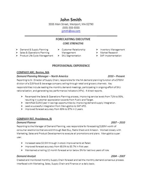 Demand Planning Resume Exles by Sle Demand Planning Resume For More Resume Writing Tips