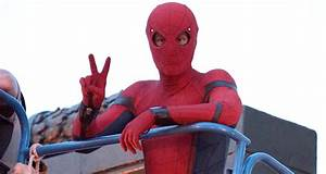 Tom Holland Suits Up on the Set of 'Spider