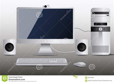 ordinateur de bureau blanc ordinateur de bureau blanc illustration de vecteur image