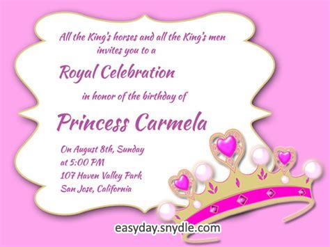 princess birthday invitation wording samples  ideas