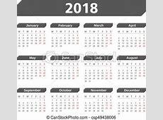 Calendário, 2018 Semana, eps10, começa, segundafeira