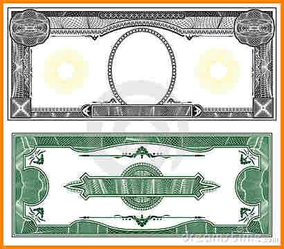 blank money bill template simple bill