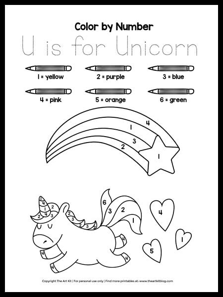 color  number    unicorn coloring page