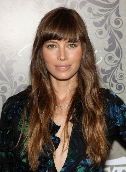 blunt bangs  long hair  waves bangs jessica biel