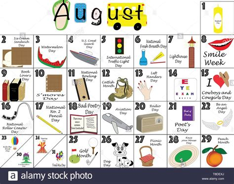 August 2020 calendar illustrated with daily Quirky ...