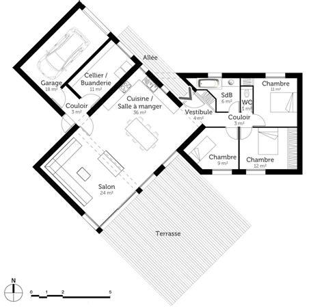 plan de maison en v plain pied 4 chambres découvrez 5 plans de maisons de 100m et les plans de masse