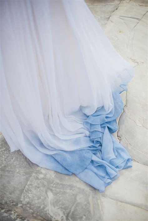 beautiful blue ombre wedding dress   barefoot beach