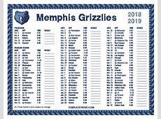 Printable 20182019 Memphis Grizzlies Schedule