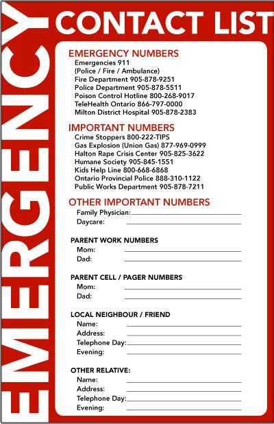 emergency numbers template