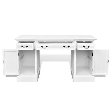 bureau des 駘钁es escritorio elegante de madera blanca con puertas y cajones tienda vidaxl es