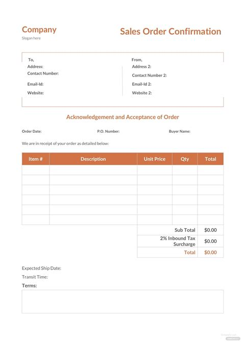 sales order confirmation template  microsoft word excel