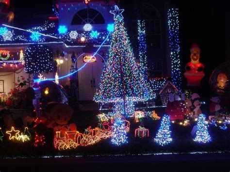 impressive look of blue and white outdoor christmas lights