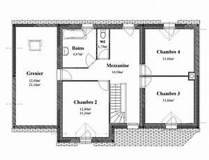 plan maison 4 pans etage With plan maison 4 chambres etage