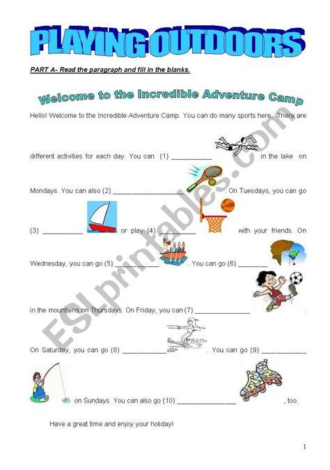 outdoor activities esl worksheet  aavci