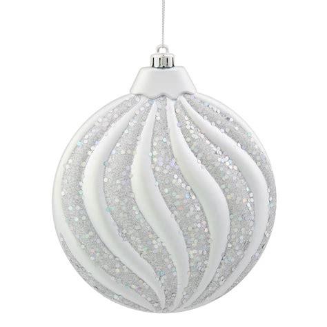 6 inch matte glitter flat christmas ball ornament silver