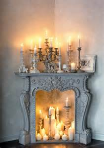 faux peonies decorative fireplace mood with candles and
