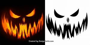10 free scary halloween pumpkin carving patterns stencils With evil pumpkin face template