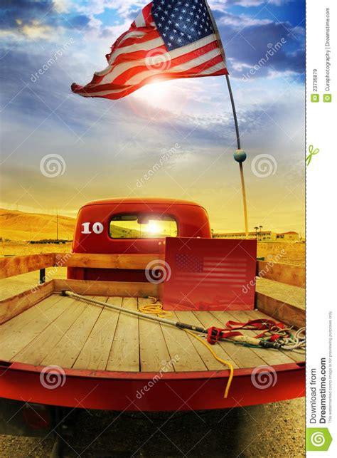 retro truck  vintage flag stock image image