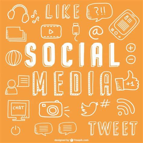 social media drawing icons vector