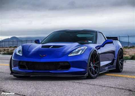 admiral blue chevrolet   corvette forgestar cfv wheels
