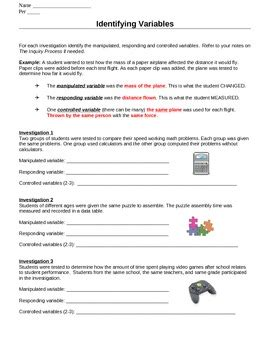 identify variables worksheets by ms science spot tpt