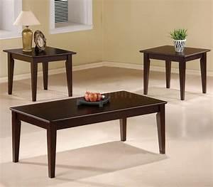 cappuccino finish modern elegant 3pc coffee table set With modern contemporary coffee table sets