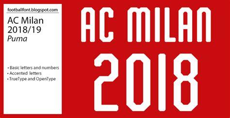 Ac Milan 2018/2019 Season Jersey Font