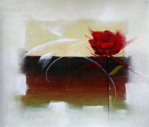 Tableau Fleurs Moderne : tableau moderne rose rouge le fleur rose rouge en peinture ~ Teatrodelosmanantiales.com Idées de Décoration