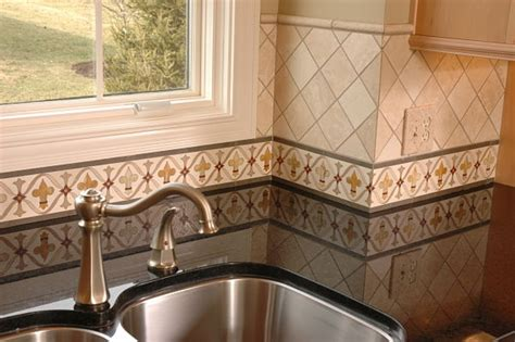 tile borders for kitchens painted kitchen border tile backsplash 6127