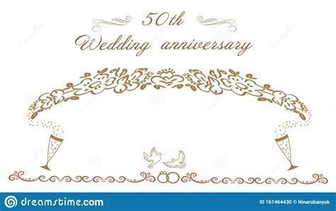 50th Wedding Anniversary Invitation Stock Illustration