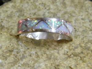 Native american navajo indian opal inlayed wedding band for Cherokee indian wedding rings