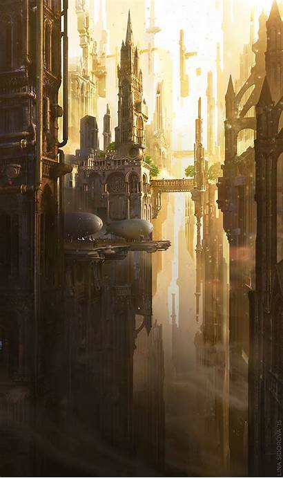Fantasy Architecture Buildings Background Airships