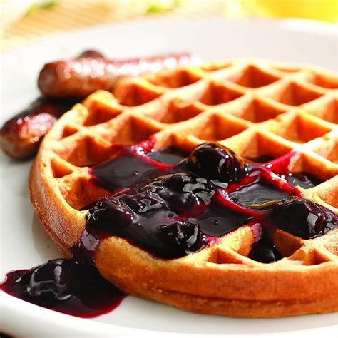eat in kitchen ideas whole grain waffles with cherry sauce recipe eatingwell