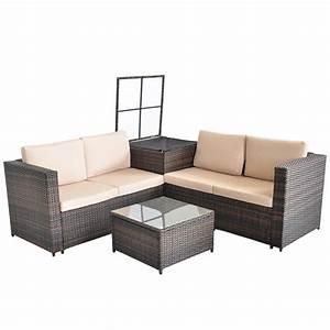 Polyrattan Lounge Sessel : polyrattan sitzgruppe lounge sessel sofa sitzgarnitur gartenset braun kissenbox ebay ~ Orissabook.com Haus und Dekorationen