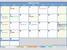 September 2019 Calendar With Holidays UK yearly