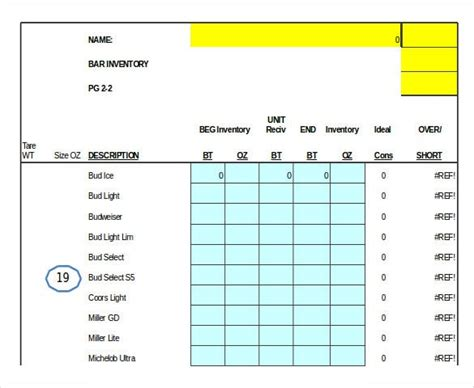 bar inventory template word excel numbers apple