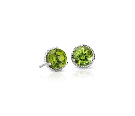 peridot rope stud earrings  sterling silver mm blue