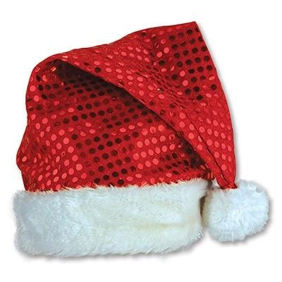 red sequin santa hat partycheap