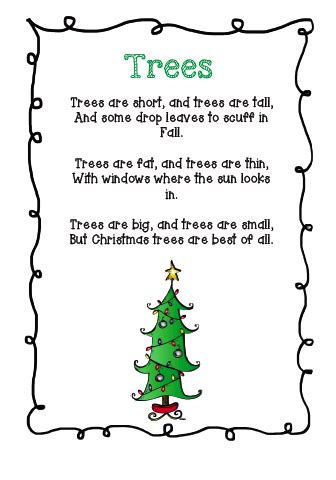 the very busy classroom free poem about christmas trees
